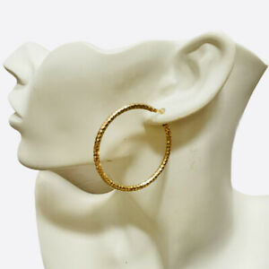 14K YELLOW GOLD SINGLE HOOP EARRING ITALY LARGE ROUND FACETED SHINY JEWELRY 2.4g
