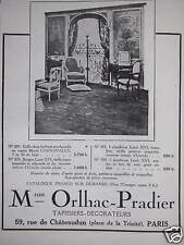 PUBLICITÉ MAISON ORLHAC PRADIER TAPISSIERS DÉCORATEURS