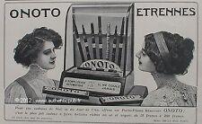 PUBLICITE ONOTO PORTE PLUME RESERVOIR ETRENNES ART DECO DE 1909 FRENCH PEN AD