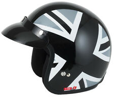 VCAN V500 Scooter Mod Motorcycle Motorbike Open Face Helmet LAMBRETTA Vespa Black Jack S