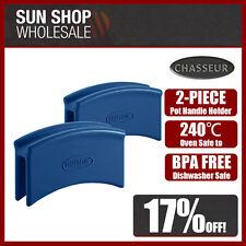100% Genuine! CHASSEUR Silicone Pot Handle Holder 2 Piece Set Blue Oven Safe!