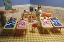 New ListingRenwal Hospital Nursery Set w/ Nurse, Vintage Plastic Dollhouse Furniture 1:16