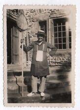 PHOTO ANCIENNE Pêcheur Pêche Épuisette Canotier Vers 1930 Filet Portrait Homme