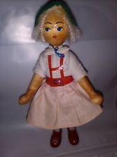 Vintage Handmade Swedish Doll Carved Wood Face & Hands  Clothing Movable