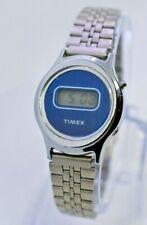 Vintage 1980s Ladies TIMEX LCD Blue Stainless Steel Watch, Runs, Digital Quartz