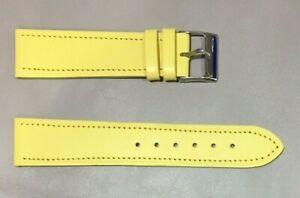 Pulsera Correa de Reloj Piel Legítima Cuero 20 mm Amarillo   Watchband 240