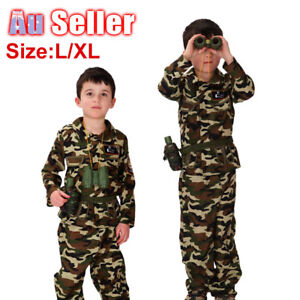 Military Week Army Fancy Dress Kids Soldier Costume Camouflage Suit Book BOYS