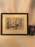 Vtg Charley Krone PA Local Artist Framed Print Pen Ink Drawing Covered Bridge