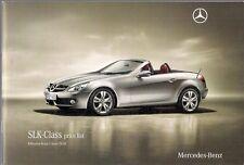 Mercedes-Benz SLK Specification 2010 UK Market Brochure 200K 300 350 55 AMG