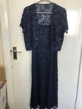 LADIES WOMENS BLUE FLORAL BEADED MIDI DRESS & BOLERO CAPE SIZE M (LOU)