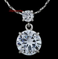 White Gold Plated Single Round Drop Necklace Made With Swarovski Crystal N226