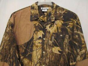 Men's Medium COLUMBIA Timberwolf Camo Deer HUNTING Long Sleeve Shirt