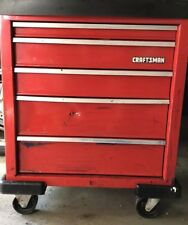 Sears Craftsman roll around tool box chest storage cart Vinyage casters 5 Drawer