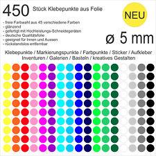 450 Stück Klebepunkte aus Folie glänzend rund 5mm Aufkleber Sticker Inventur NEU