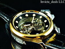 Invicta 52mm Russian Diver GHOST BRIDGE AUTOMATIC GOLD TONE Leather Watch-RARE