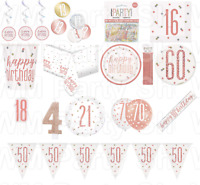 Rose Gold Happy Birthday Party Glitz Tableware Table Decorations Plates Balloons