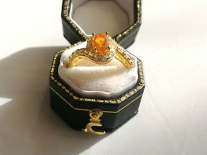 Sterling silver gold plated D'Joy orange/clear cubic zirconia ring size N 1/2