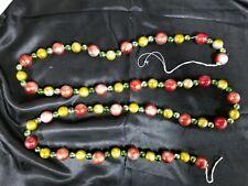 "Vtg Christmas Large Bead Garland Multi Sizes & Colors 69"" Long"