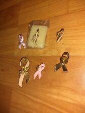 Lot Of 6 Breath Cancer Awareness Pins Pink Ribbons Gold Toned Ribbons Avon+