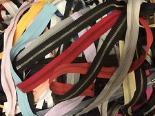 "Lot of 25 Assorted Color Separating/Open Nylon Molded Metal Zippers 12""-24"""