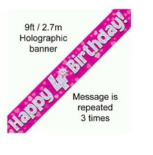 4TH BIRTHDAY PARTY PINK BANNER HOLOGRAPHIC 9FT/2.7M