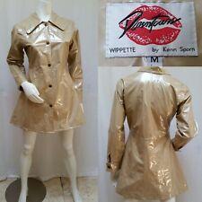 Downtown Wippette Kenn Sporn Vinyl Raincoat Shiny Gold Rain Jacket Slicker -Sz M