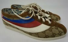 Gucci Falacer GG Logo Women's Brown Sneakers Red Blue White Rainbow Shoe Size 38
