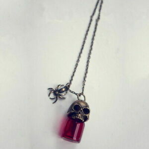 1X Gothic Retro Skull Spider Red Bottle Glass Pendant Necklace Halloween Jewelry