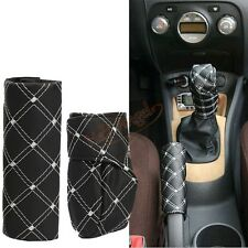 Premium White+Black Auto Car PU Leather Gear Shift Knob HandBrake Cover Sleeve
