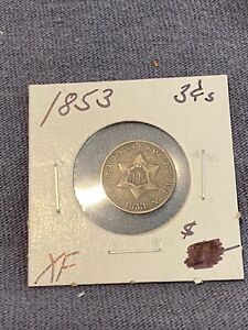 1853 THREE CENTS SILVER 3c COIN XF CIRCULATED NICE ORIGINAL SURFACES no reserve!