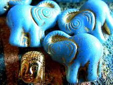 5Stk. neue ausgefallene Saphir Blue Opak Elefanten-Perlen m.Goldprägung -20x21mm
