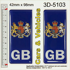 2x GB Great Britain Coat of Arms UK Number Plate 3D Stickers Decals Badges Domed