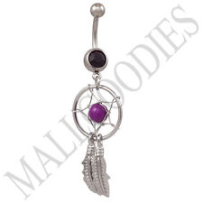 B105 Purple Violet Dreamcatcher Dream Catcher Belly Navel Ring Bead Surgical