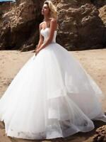 New White Ivory Ruffles Wedding Dresses Beach Bridal Gowns With belt Custom Size