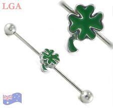 4 LEAF CLOVER Industrial Barbell Ear piercing 16g 34mm LUCKY enamel STYLE bar C