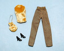 GOLD Fuzzy Top w/ Black & Gold Striped Pants Outfit for BARBIE w/ Heels & Purse