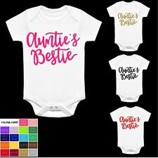 AUNTIE'S BESTIE VEST BABYGROW CLOTHING SHOWER GIFTS BOY GIRL SLOGAN BEST AUNT