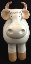 Art Studio Pottery Cow Bull Horns Fat 9 1/2 Inches Tall Glazed Funky Cartoon