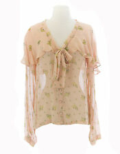TOPSHOP Women`s Nude Peach Floral Button Up Pussybow Blouse 13N73Y Sz 4 NWOT $76