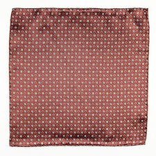 SANTOSTEFANO Handmade Brown Blue Geometric Silk Pocket Square Handkerchief $150