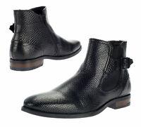 Bugatti Herrenschuhe Stiefel Boots Leder Stiefeletten Chelsea Schwarz Gr. 46