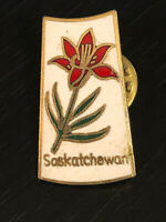 Vintage Collectible Saskatchewan Flower Colorful Metal Pinback Lapel Pin Hat Pin