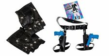 LARA CROFT tomb raider fancy dress 90s costume GLOVES and TWIN GUN HOLSTER SET