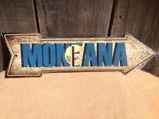 """Montana State Flag This Way To Arrow Sign Novelty Metal 17"""" x 5"""""""