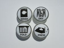 Vintage Laundry Room Wash, Dry, Fold, and Press Cabinet Drawer Knobs Set of 4