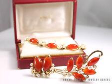 MING'S HAWAII IMPERIAL RED JADE PEARL 14K BRACELET BROOCH EARRING SET MINGS JADE