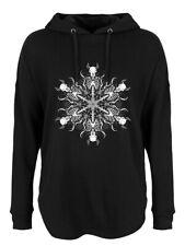 Hoodie Skeletal Snowflake Oversized Women's Black