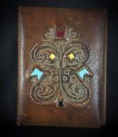 Ancien couvre-livre début XXème cuir de chameau - décors émaillé - belle pièce