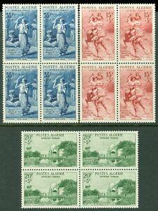 ALGERIA : 1957. Scott #B91-3 Blocks of 4. Very Fine, Mint Never Hinged. Cat