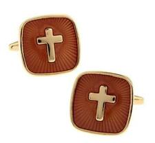 W2103...CUFFLINKS - GOLD PLATED & ENAMEL CRUCIFIX - FREE UK P&P